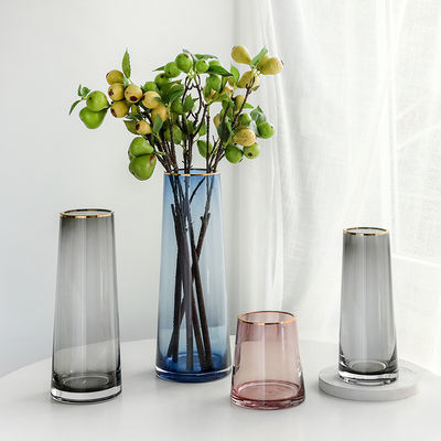 欧式金边玻璃花瓶透明水养大号插花器家居客厅富贵竹干花装饰摆件