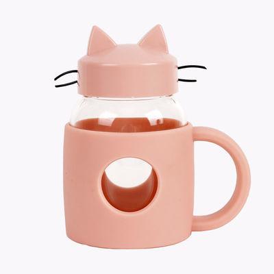 韩版创意猫咪防烫玻璃杯男女学生情侣可爱提手杯耐高温防摔水杯子