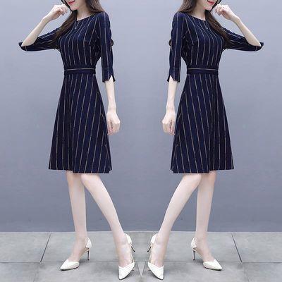 秋装女圆领新款韩版修身显瘦a字裙子中长款气质七分袖条纹连衣裙