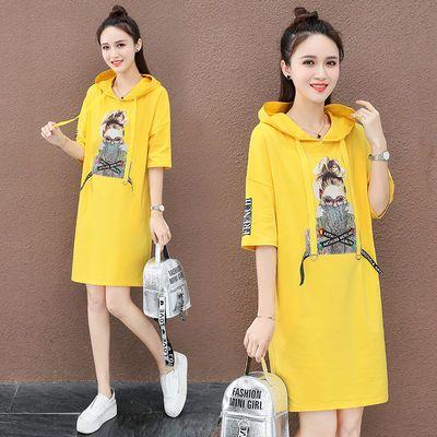 五分袖连帽t恤中长款夏季女装2020新款韩版潮流印花大码宽松卫衣