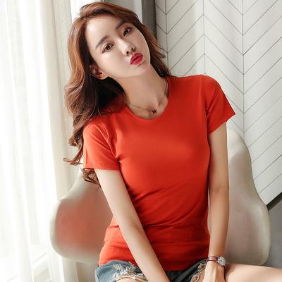 2020夏装031#实拍纯棉t恤女短袖修身新款纯色圆领韩版简约上衣女