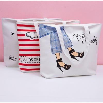 学生帆布手提包包女文艺简约韩版环保布袋子单肩休闲手提包补习包