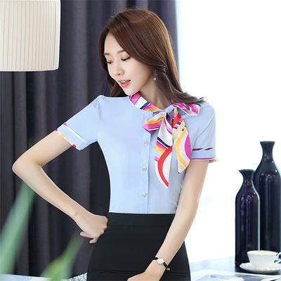 酒店服务员工作服衬衫夏装女KTV前台收银员领班衬衣餐厅制服短袖