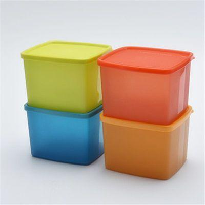 特百惠 800ml保鲜盒4件套 冷藏方盒彩色是新款冰箱密封盒水果盒