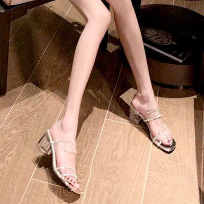 2020新款仙女风夏方头凉鞋女中跟一字带透明粗跟拖水晶钻潮拖鞋女