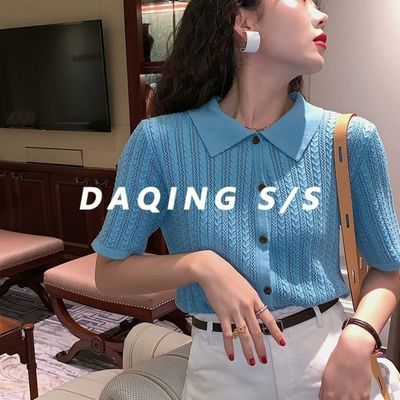 复古镂空上衣polo短袖针织衫女2020夏季宽松韩版学生显瘦冰丝开衫