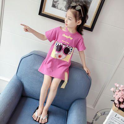 女童短袖t恤2019新款夏装中大童短袖上衣洋气儿童中长款打底衫潮