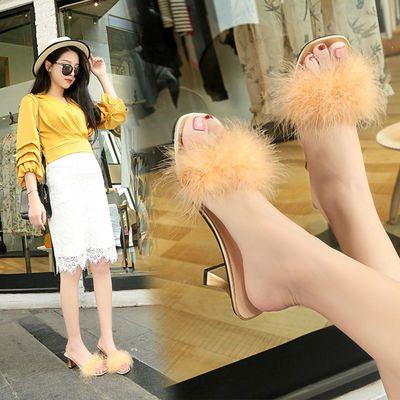 拖鞋女夏季外穿高跟鞋女新款韩版时尚鞋子女学生粗跟毛毛凉拖鞋女