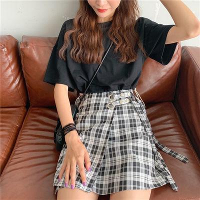 夏季2020年新款一片式复古格子纽扣半身裙学生高腰A字短裙包臀裙