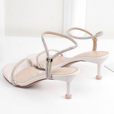 时尚水钻凉鞋2020夏款新款细跟高跟鞋女细跟圆头漆皮露趾夏季女鞋