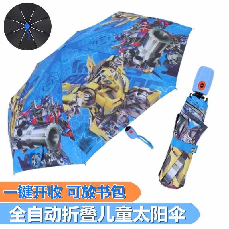 88689-黑胶卡通全自动折叠儿童雨伞男女小学生太阳伞晴雨两用防晒遮阳伞-详情图