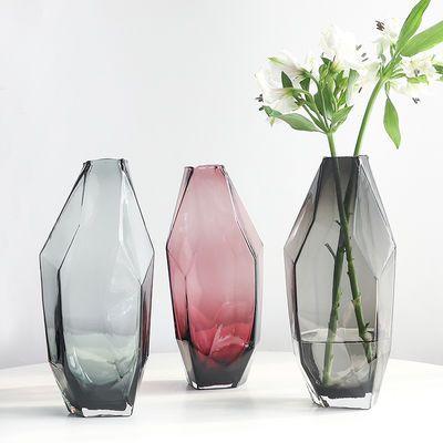 欧式简约轻奢几何多面彩色透明玻璃花瓶花器插花花艺家居摆件装饰