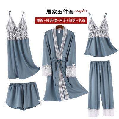带胸垫冰丝睡衣女春秋长袖五件套真丝绸夏吊带性感睡裙家居服套装