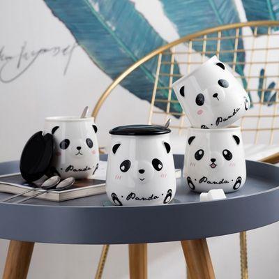 杯子可爱熊猫杯子陶瓷马克杯带盖勺情侣喝水杯家用咖啡杯男女茶杯