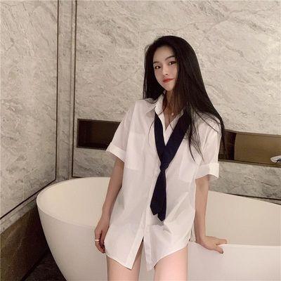 白衬衫网红同款上衣直播衣服女主播服装上镜性感甜美气质诱惑上衣
