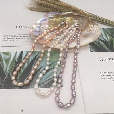 正品天然淡水珍珠项链7-8mm白色米形珍珠项链送妈送婆婆精选之礼
