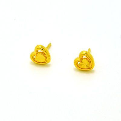 心形小耳钉迷你学生耳环学生镀金耳钉越南沙金黄金色久不掉色