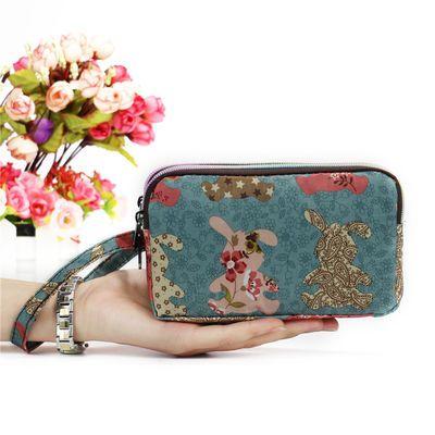 新款钱包女长款手拿包零钱包大容量装手机包袋钥匙包拉链布艺手包