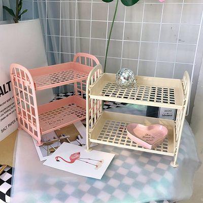 少女心可爱粉色桌面双层置物架房间装饰韩国化妆品收纳架宿舍收纳