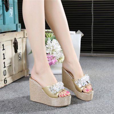 拖鞋女夏季坡跟厚底12cm超高跟松糕底防水台女凉鞋外穿鱼嘴一字拖