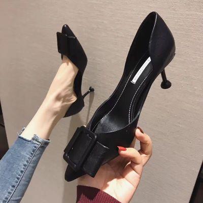 高跟鞋女细跟春季2020新款韩版百搭黑色性感蝴蝶结尖头超浅口单鞋