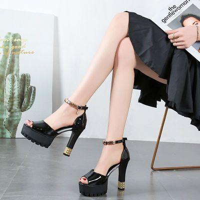 2020春季新款单鞋女厚底高跟鞋12cm超高跟粗跟鱼嘴凉鞋婚舞走秀鞋