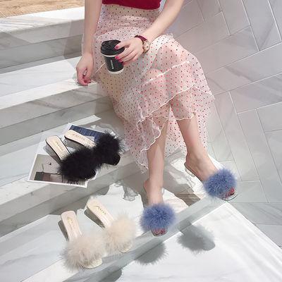 毛毛拖鞋女外穿时尚百搭网红2020韩版夏季新款粗跟中跟女士凉拖女