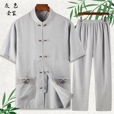唐装男短袖夏季休闲套装男士中国风汉服中老年人男装爷爷太极服衣