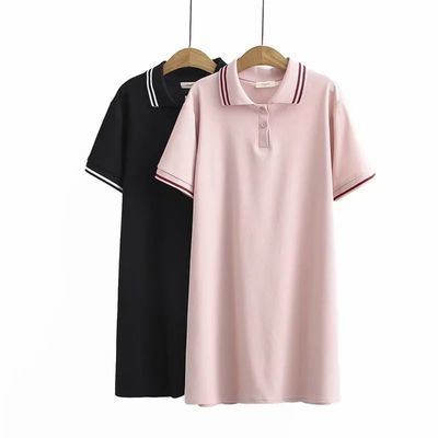 加肥加大码女装夏款减龄显瘦胖MM短袖衫连衣裙翻领彩色条纹双领