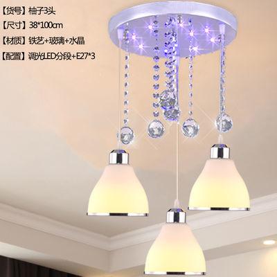 餐厅吊灯三头新款现代简约创意欧式水晶led灯泡家用饭厅卧室灯具