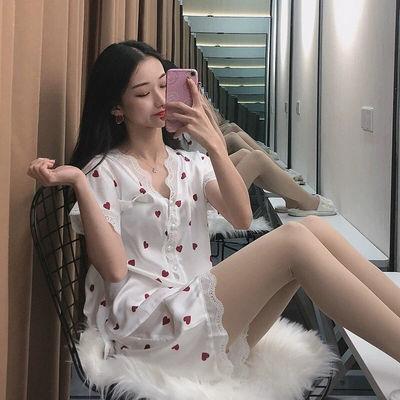 睡衣女夏季冰丝短袖薄款性感很仙的公主风宫廷可爱日系家居服套装