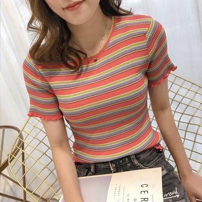 彩虹条纹针织T恤上衣女春夏季2020年新款宽松短袖圆领内搭上衣