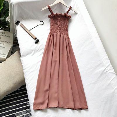 夏季内搭连衣裙新款气质百搭木耳边压褶显瘦抹胸吊带中长款雪纺裙