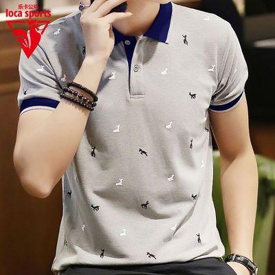 快速发货印花短袖t恤男装夏季新款半袖上衣服韩版体恤翻领polo衫