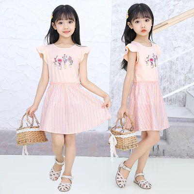 女童连衣裙夏季新品可爱连衣裙洋气泡泡袖2020新款条纹裙摆女童裙