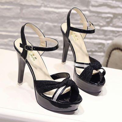 新款韩版细跟女鞋11cm超高跟凉鞋车展性感恨天高防水台演出鞋
