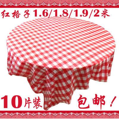 厚红格子一次性桌布塑料白底透明花瓣台布1.35一2米10片装包邮加