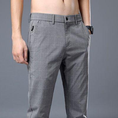 格子裤男夏季薄款男士休闲裤韩版潮流格纹商务西裤修身夏天男裤子
