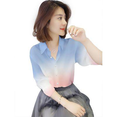 拼色衬衫女长袖2020春季新款欧洲站韩版潮气质宽松小众设计感上衣