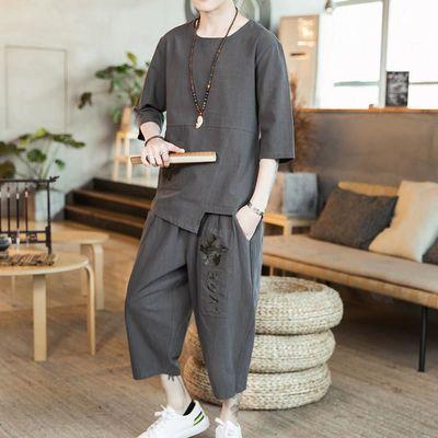 【焦作市持续热销】中国风男装夏季棉麻套装男复古禅服刺绣唐