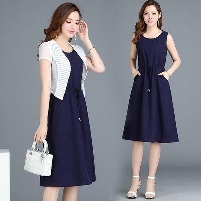 简奈妮夏季短袖连衣裙年轻妈妈装大码两件套披肩中长款A字裙