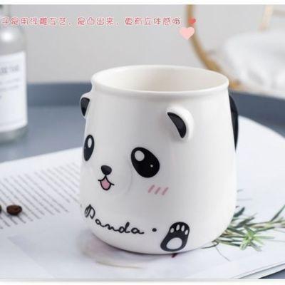 马克杯可爱熊猫杯子陶瓷杯子带盖勺情侣喝水杯家用咖啡杯男女茶杯