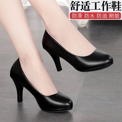 四季工作鞋女舒适百搭韩版新款单鞋黑色女皮鞋高跟鞋职业女鞋