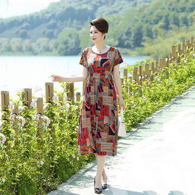 中老年妈妈夏装连衣裙2020新款显瘦百搭遮肚中长款碎花裙35到40岁