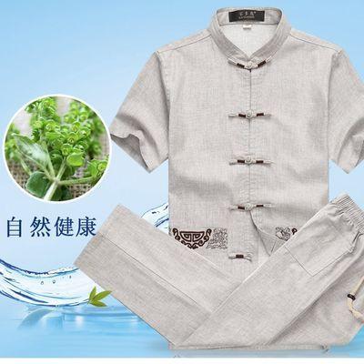爸爸夏装套装中老年人唐装男亚麻中年男士4050岁中国风运动休闲装