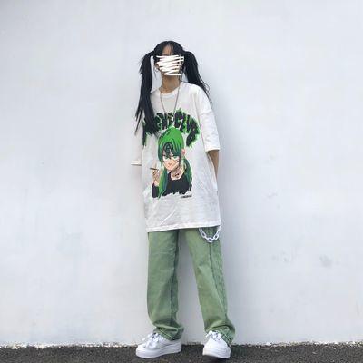 短袖女复古国潮嘻哈半袖漫画印花T恤高街慵懒原宿bf风宽松短袖潮