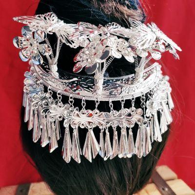 少数民族发簪苗族头饰银项圈项链饰头饰帽子侗族演出服女装包邮