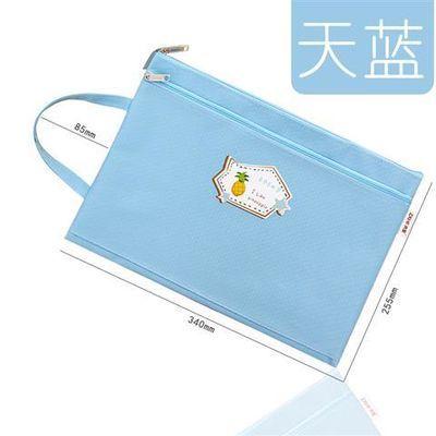 小清新可爱文件袋课本资料袋子手提双层补习袋帆布学生拉链袋加厚