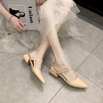 凉鞋女仙女风2020夏季新款时尚百搭网红漆皮粗跟凉鞋ins高跟鞋潮