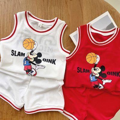 儿童无袖运动两件套男童背心套装夏装小童宝宝帅气小童速干篮球服